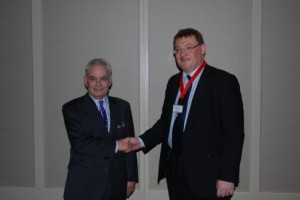 Mr Fergal Hickey, President, IAEM congratulates Mr Leo Vella after Mr Vella gave the inaugural Leo Vella Lecture at the IAEM Annual Scientific Meeting in Limerick on Friday 21st October 2011.