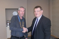 Mr Fergal Hickey, outgoing President IAEM, congratulates Mr Mark Doyle  (Consultant in EM, Waterford Regional Hospital) on his assumption of the Presidency of the   Association on 22nd October 2011
