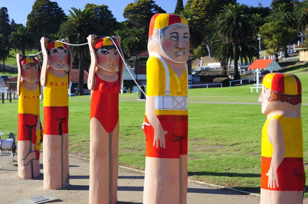 'Working together' – Baywalk bollards by local artist Jan Mitchell depicting surf lifeguards in Geelong